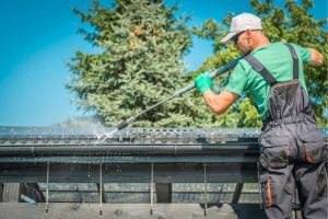 Eugene Rooftop Gutter Cleaning with power washer